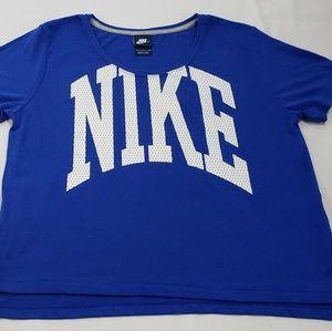 NIKE Crew Royal Blue Mesh Graphic Athletic Shirt